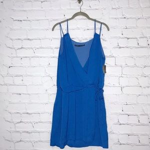 Zara Basic Blue Mini Dress Faux Wrap Sleeveless